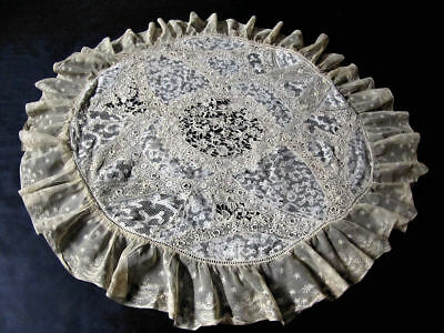 """Antique 34"""" Pillow Cover Handmade Normandy Lace & Irish Lace"""