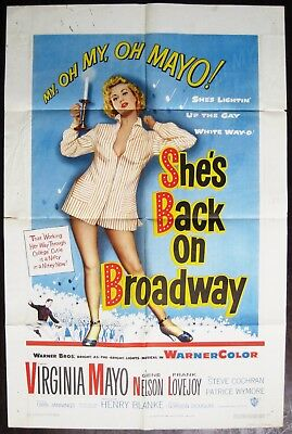 She's Back On Broadway 1953 Virginia Mayo Original US One Sheet Poster