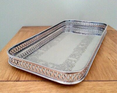 Fine Quality CAVALIER Antique Silver Plated Gallery Cocktail Tray C1920