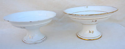 French Gilt Old Paris Porcelain Pair of Compote Footed Dish Mono AP 19th C