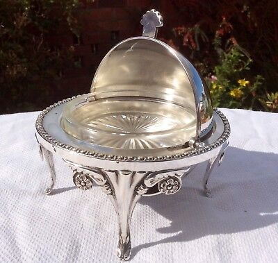 Beautiful Antique Ornate Silver Plated Butter/Caviar Dish Downton Style C.1930