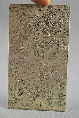 Collectable Handwork Decor Old Miao Silver Carve Dance Dragon Auspicious Pendant
