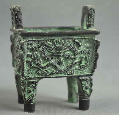 Collectable Handwork Decor Old Bronze Carve Dragon Play Ancient Exorcism Statue