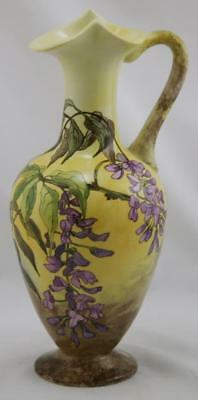 "JERSEY CITY POTTERY 11.25"" STUNNING EWER W/WISTERIA BLOSSOMS SIGNED W.B. d1884"