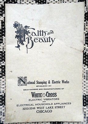 Antique Electric Vibrator Quack Medicine-Machine Catalog & Chart- White Cross