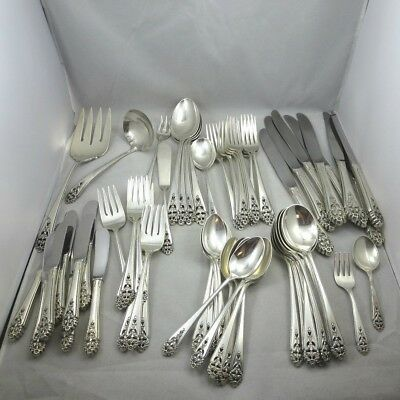 Vintage International Sterling Silver 63 Piece Flatware Set Queens Lace Pattern
