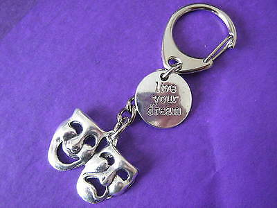 Drama Keyring Theatre Comedy Tragedy Live Your Dream Inspirational Keychain