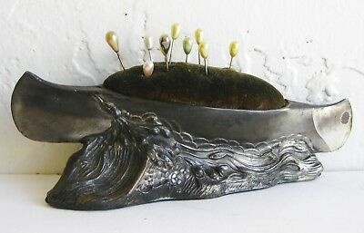 Antique Cast Metal Figural Vtg Canoe Boat Victorian Pin Cushion