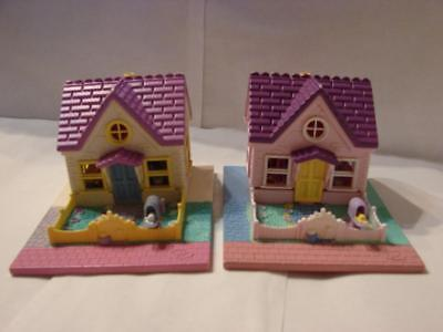 2 Vintage 1993 Polly Pockets Cozy Cottage~1 White~1 Pink Version~No Figures