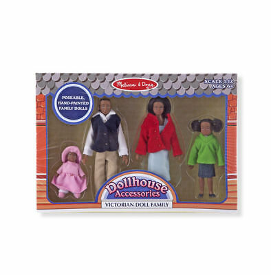 DOLLHOUSE FAMILY African American ~ 2689 ~4 dolls,Victorian ~Melissa & and Doug