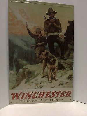 Winchester Tin Of Two Hunters In The Mountains With Their Airedale