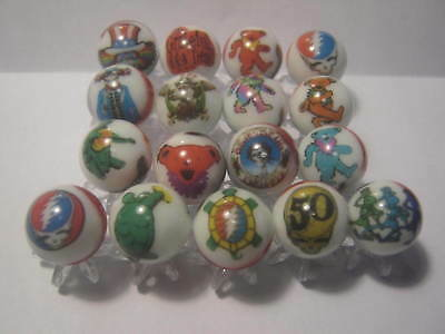 Grateful Dead GLASS MARBLES 5/8 SIZE collection lot + STANDS