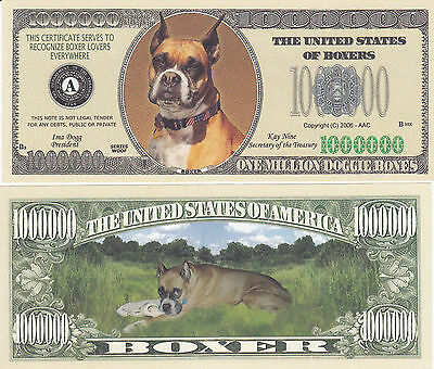 Boxer Dog Collectible Canine Novelty Money Bill #242