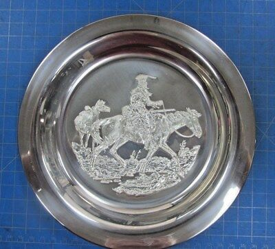 "1972 Franklin Mint Sterling Silver Plate ""mountain Man"" By Gordon Phillips"
