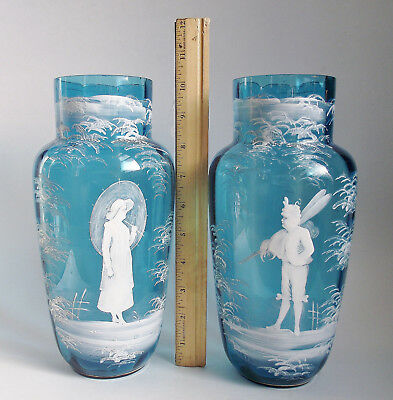"""PAIR Antique LARGE 10"""" MARY GREGORY BLUE VICTORIAN Art Glass VASE WHITE Enamel"""