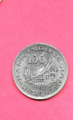 Indonesia Km42 1978 Unc-Uncirculated Mint Large Old Vintage 100 Rupiah Coin
