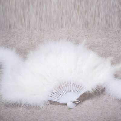Wedding Showgirl Dance Elegant Large Feather Folding Hand Fan Decor Decal White