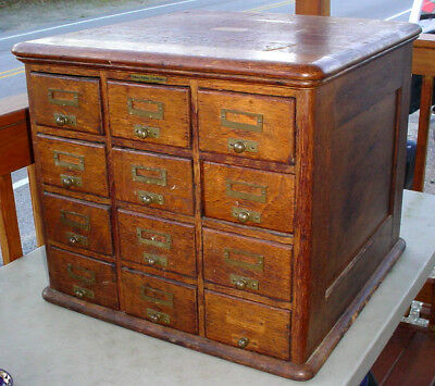Antique Library Bureau Sole Makers 12 Drawer Oak & Ash Card File Index Cabinet
