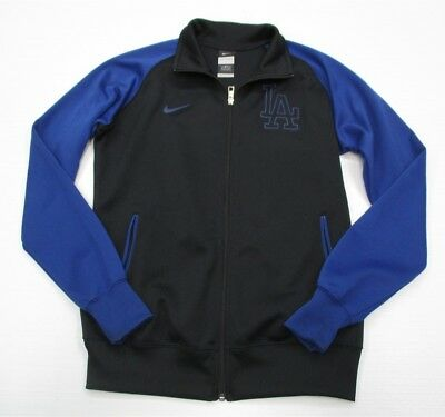 NIKE #K557 Women's Size L Athletic Zip Up Fitted LA Blue Black Track Jacket