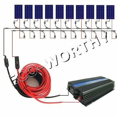 1KW Grid Tie Solar Panel Kits 10x100W Solar Panel & MPPT Function 1000W Inverter