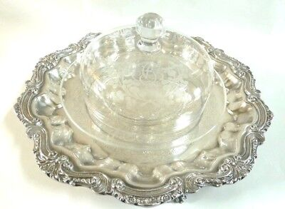 Antque Baccarat Crystal Cheese Bell Dome With Platter