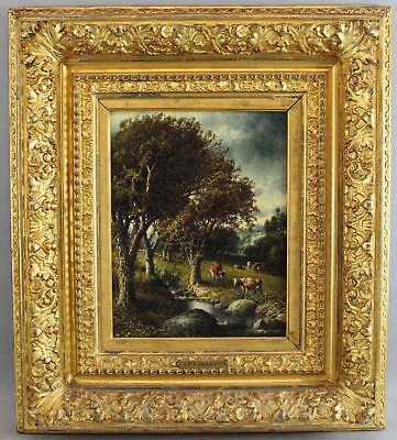 Antique Patrick Berry American Country Cow Impressionist Landscape Oil Painting