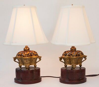Vintage Pair of Chinese Brass Incense Burner Table Lamps