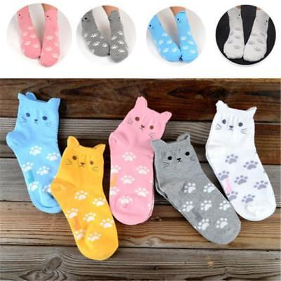 Fashion Women Cute Cartoon Cat Ear Candy Color New Cotton Ankle Socks Stocking S