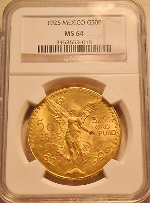 1925 50P NGC MS 64 Mexico Gold 50 Pesos, Near GEM Uncirculated Centenario 1.2 oz