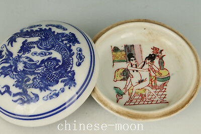 Ancient Chinese Old Porcelain Handmade Painting Dragon Jewel Snuff box
