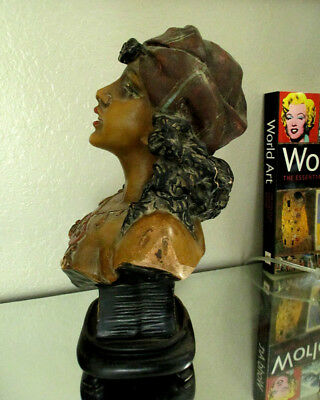 ANTIQUE VICTORIAN Lady Sculpture Chalkware Figurine EXOTIC DANCER GYPSY 1920'S