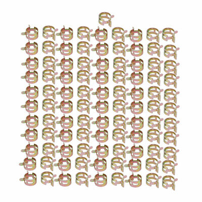 100 Pcs 18mm Spring Band Type Action Fuel Hose Pipe Air Clamp Bronze Tone