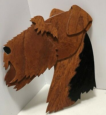 Airedale Welsh Lakeland Overlay Wooden Head Silhouette To Hang On The Wall