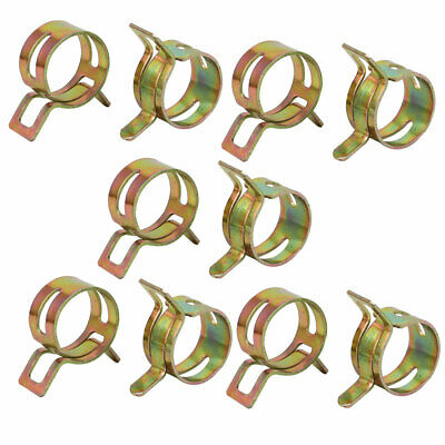 10 Pcs 16mm Spring Band Type Action Fuel Hose Pipe Air Clamp Bronze Tone