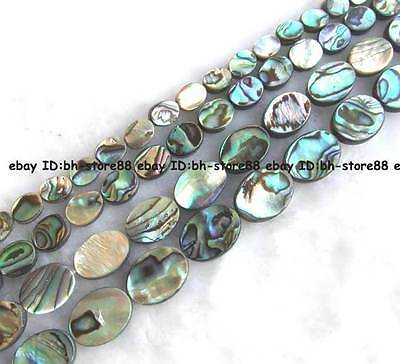 6x8mm 8x10mm 10x14mm 12x16mm  natural abalone Shell flat oval Beads 15''