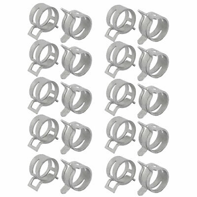 20 Pcs 21mm Spring Band Type Action Fuel Hose Pipe Low Pressure Air Clamp White