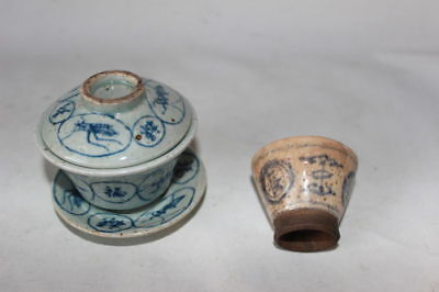 ming tea cups Qing Chinese porcelain pottery bird decor 19th c century antique