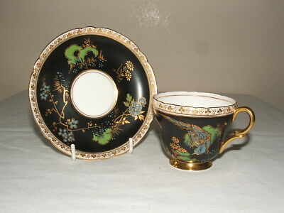 Shelley Art Deco Blue Pheasant 13550 Henley Coffee Cup & Saucer Truly Stunning
