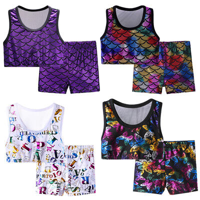 Two-Piece Gymnastic Set Leotard Dance Cheerleader Crop Top Shorts For Girls3-12Y