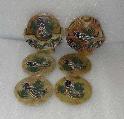 Marble Pcs of 2 Tea Coaster Peacock Art Dancing Hand painted Table Decor Gifts
