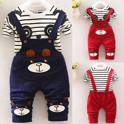 2PCS/Set Toddler Kids Baby Boy Girl Tops T-shirt+Long Bib Pants Outfits Clothes
