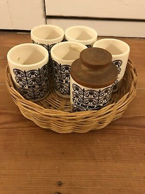 6 Hornsea Made In England Small Pottery Vintage Spice Scrolls Jars No Lids