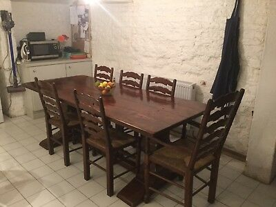 Reduced to sell with NO RESERVE Oak  Dining Set Ladderback Chairs Refectory