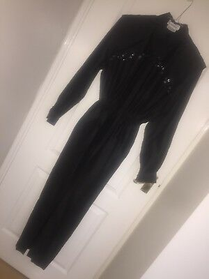 Original 80's Vintage Jumpsuit - Handmade - Silk - Shoulder Pads - Sequin Detail
