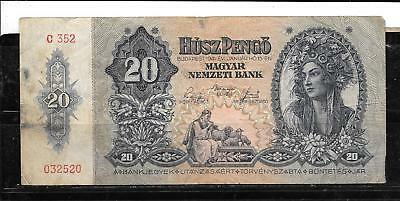 Hungary #109 1941 Vg Circulated 20 Pengo Banknote Paper Money Currency Bill Note