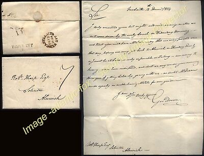 1824 NEWCASTLE .U.T. 277 + TOO LATE, Letter George Dunn  to ALNWICK charged 7d