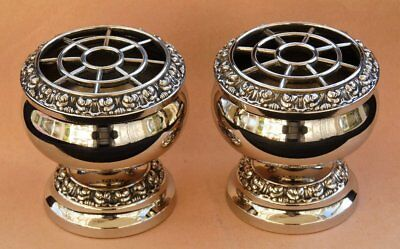 Small Vintage Silver Plated Flower Arrangment Rose Bowls Vase * Christmas Table