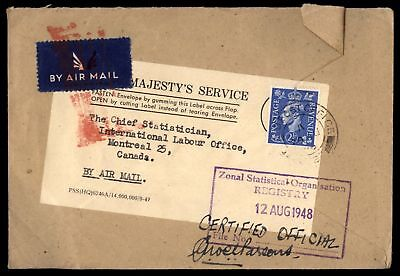 Great Britain FPO 1948 Zonal Statistical Organisation cover to Canada Montreal