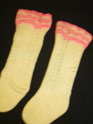 Antique Vintage Hand Knitted WOOL BABY STOCKINGS Childs Long High Socks DOLL