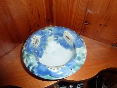 Scottish Highland Stoneware Hand Painted Bowl Blue Floral Flowers Perfect